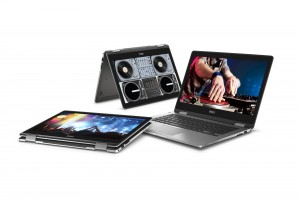 Three Dell Inspiron 13 7000 Series (Model 7368) 2-in-1 Touch notebook computers, codename Starlord, arranged in a circle with different orientations.